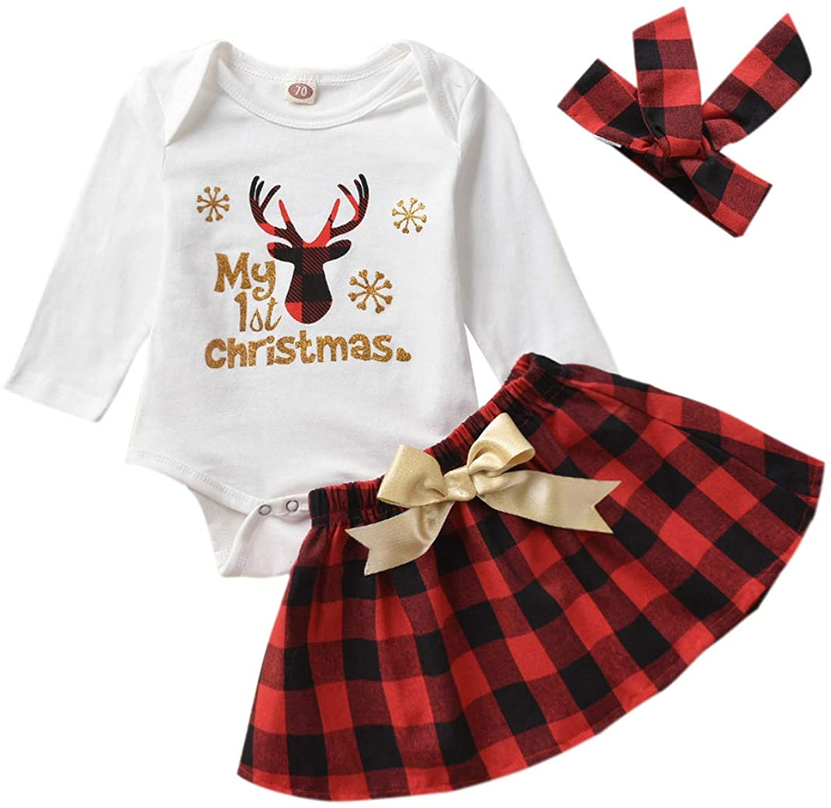 Christmas Dresses Outfits Newborn Baby Girls Santa Bell Sleeve Rompers+Snowflake Plaid Tutu Skirt Fall Clothes
