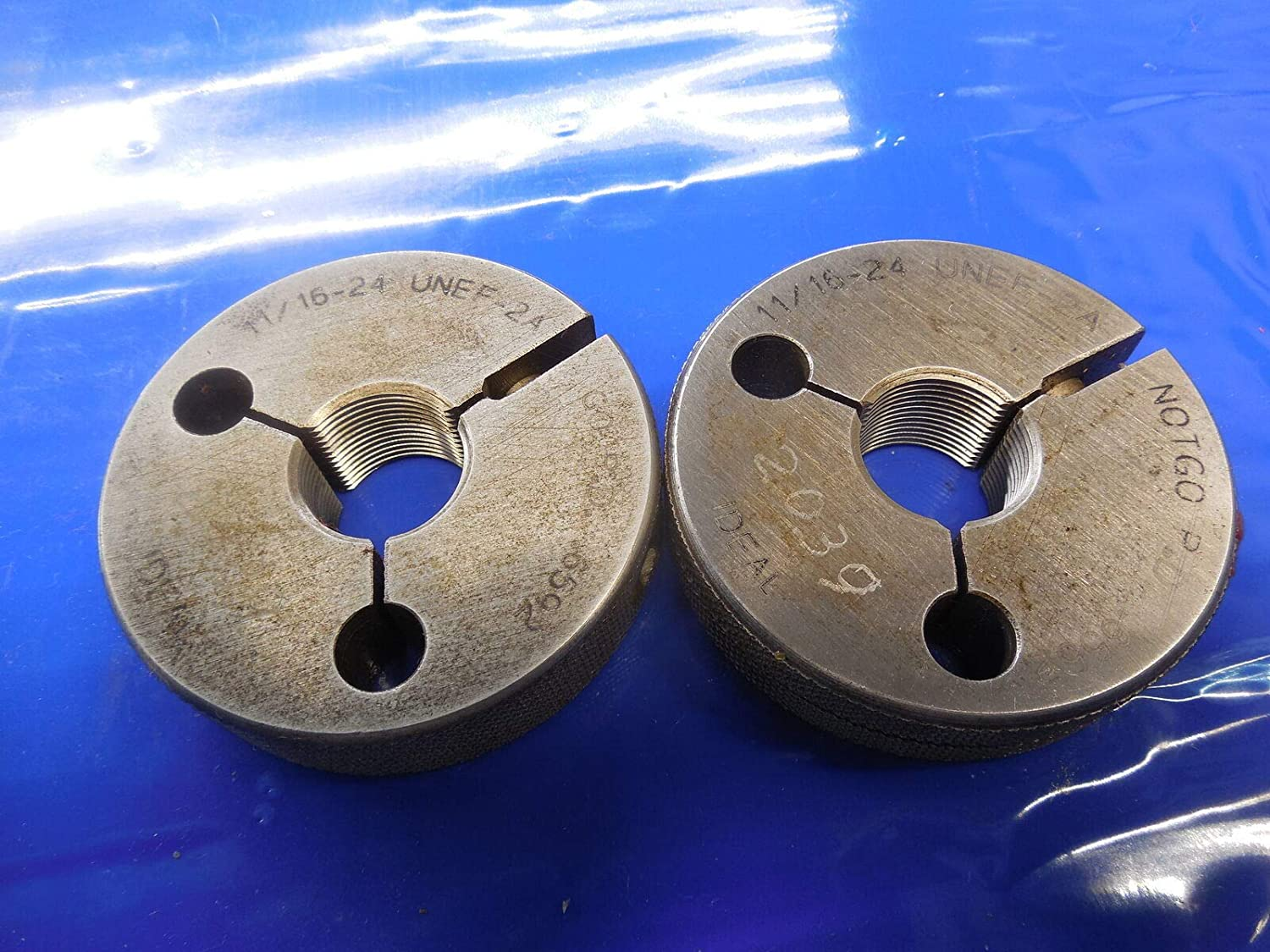 11/16 24 UNEF 2A Thread Ring GAGES .6875 GO NO GO P.D.'S = .6592 & .6552 Quality