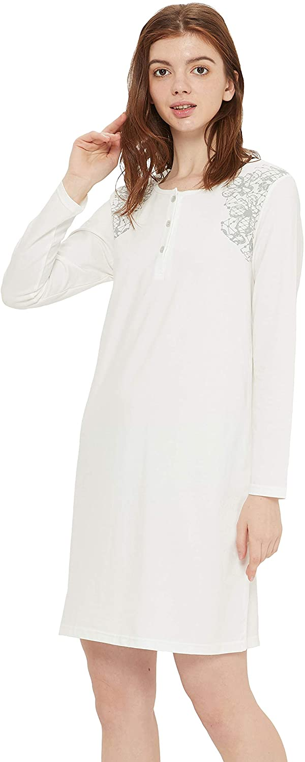 KICYANAN Women's Scoop Neck Cotton Nightshirt Buttoned Long Sleeve Nightie