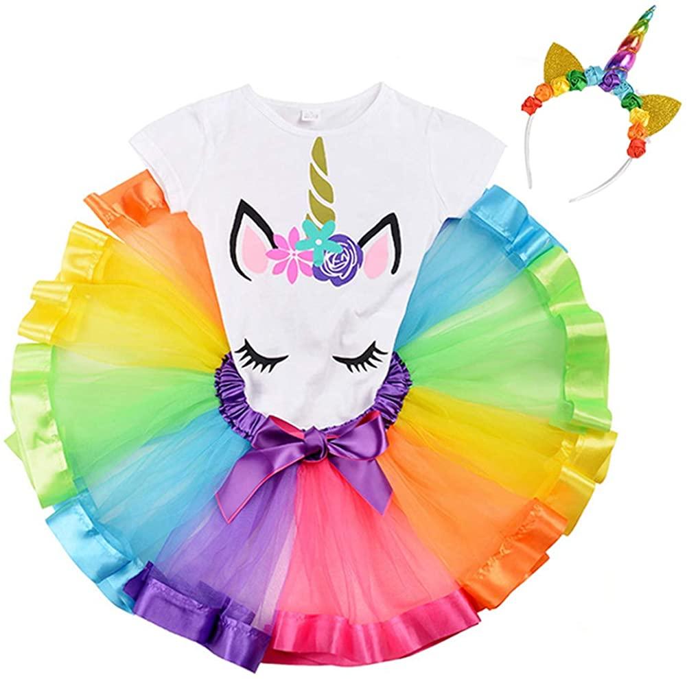 Bestry Rainbow Tutu Skirt Girls Unicorn Outfit Set Birthday Unicorn T-Shirt Unicorn Horn Headband