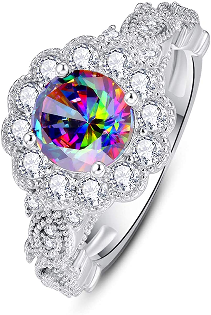 BONLAVIE Halo Engagement Rings for Women with 925 Sterling Silver Round Oval Cut Created Mystic Rainbow Topaz Cubic Zirconia CZ