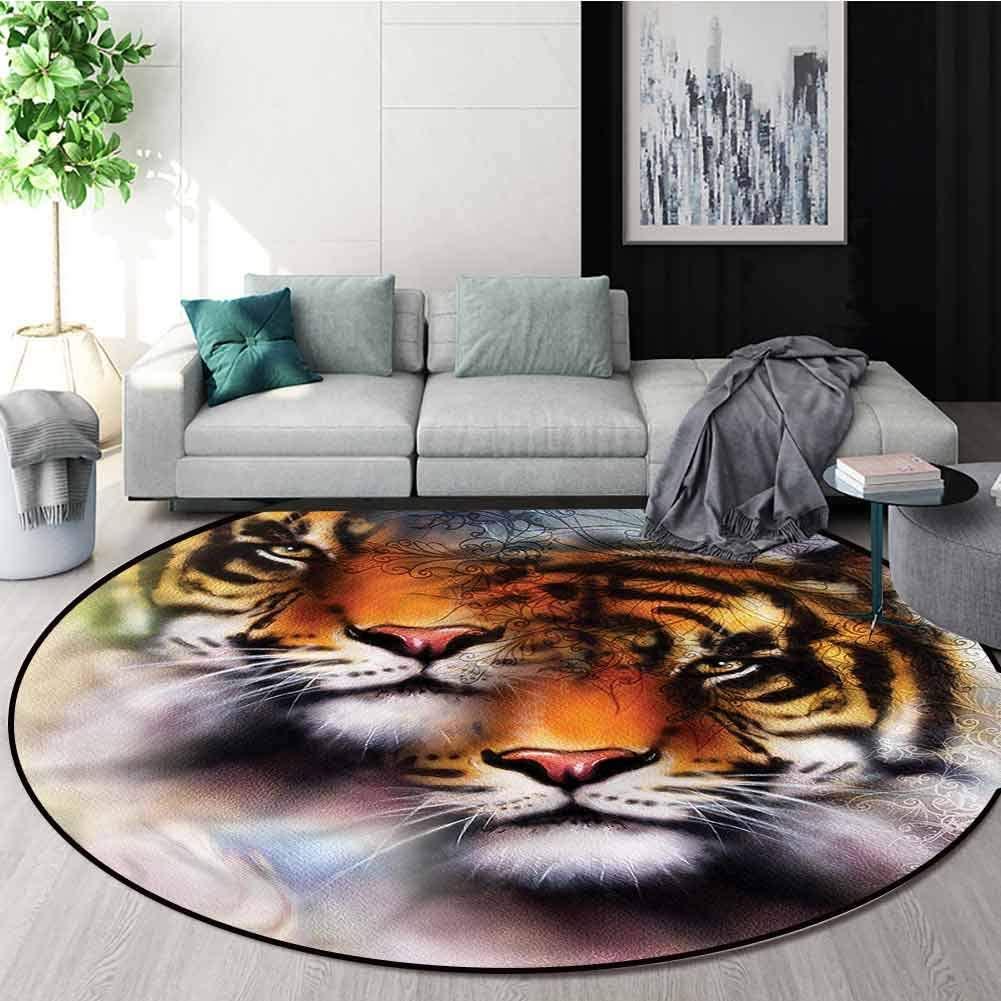 RUGSMAT Safari Modern Flannel Microfiber Round Area Rug,Wildlife Safari Animals Non-Slip No-Shedding Kitchen Soft Floor Mat Diameter-47