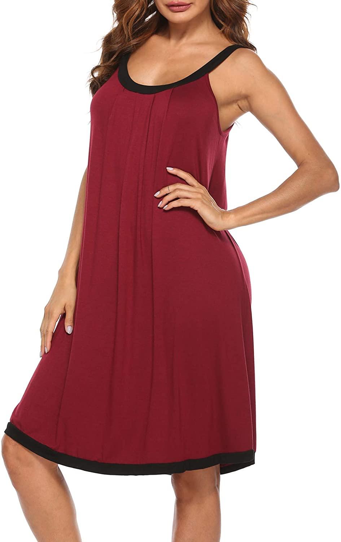 YAWOVE Nightgown Womens Wide Strap Chemise Full Slip Cotton Sleepwear Dress S-XXL