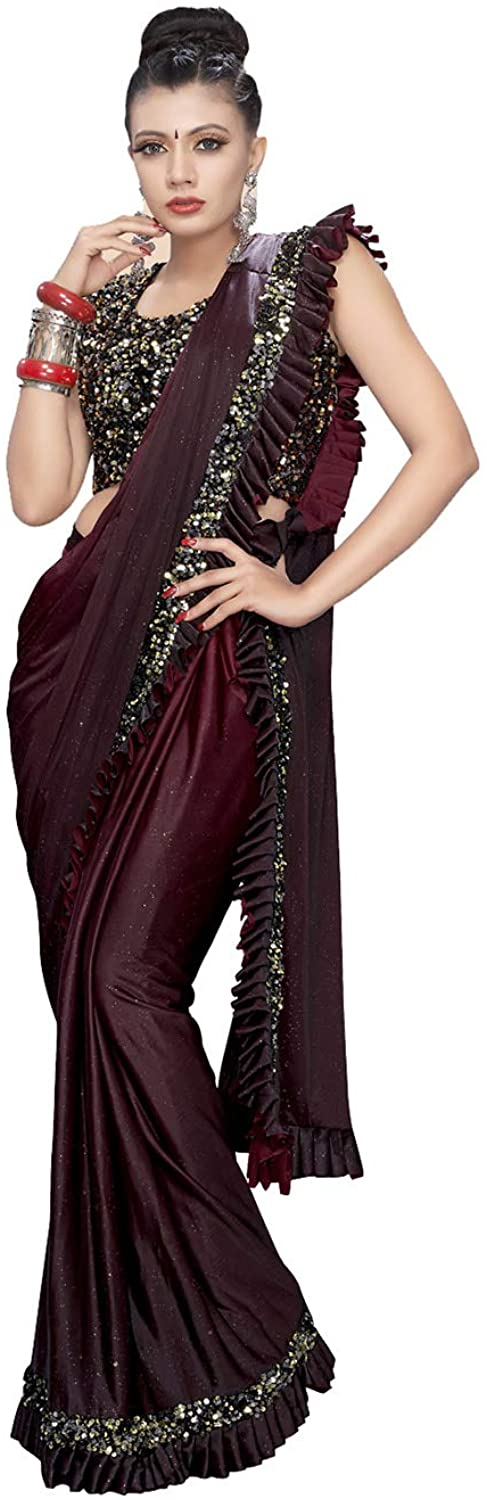 Indian Saree for Women Ethnic Sari Brown Lycra Sari with Unstitched Blouse. ICW2711-5