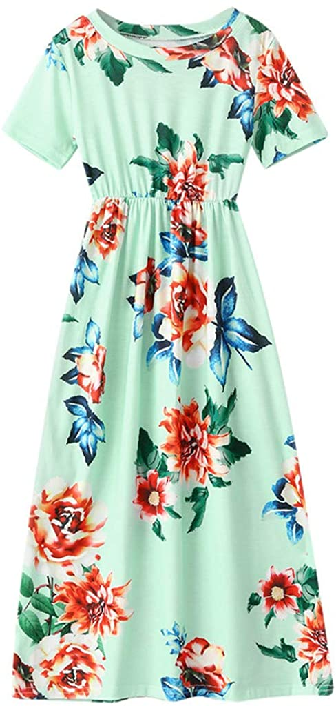 WOCACHI Girls Floral Maxi Dresses, Toddler Little Girl Floral Flower Striped Print Pleated Elegant Party Long Dress