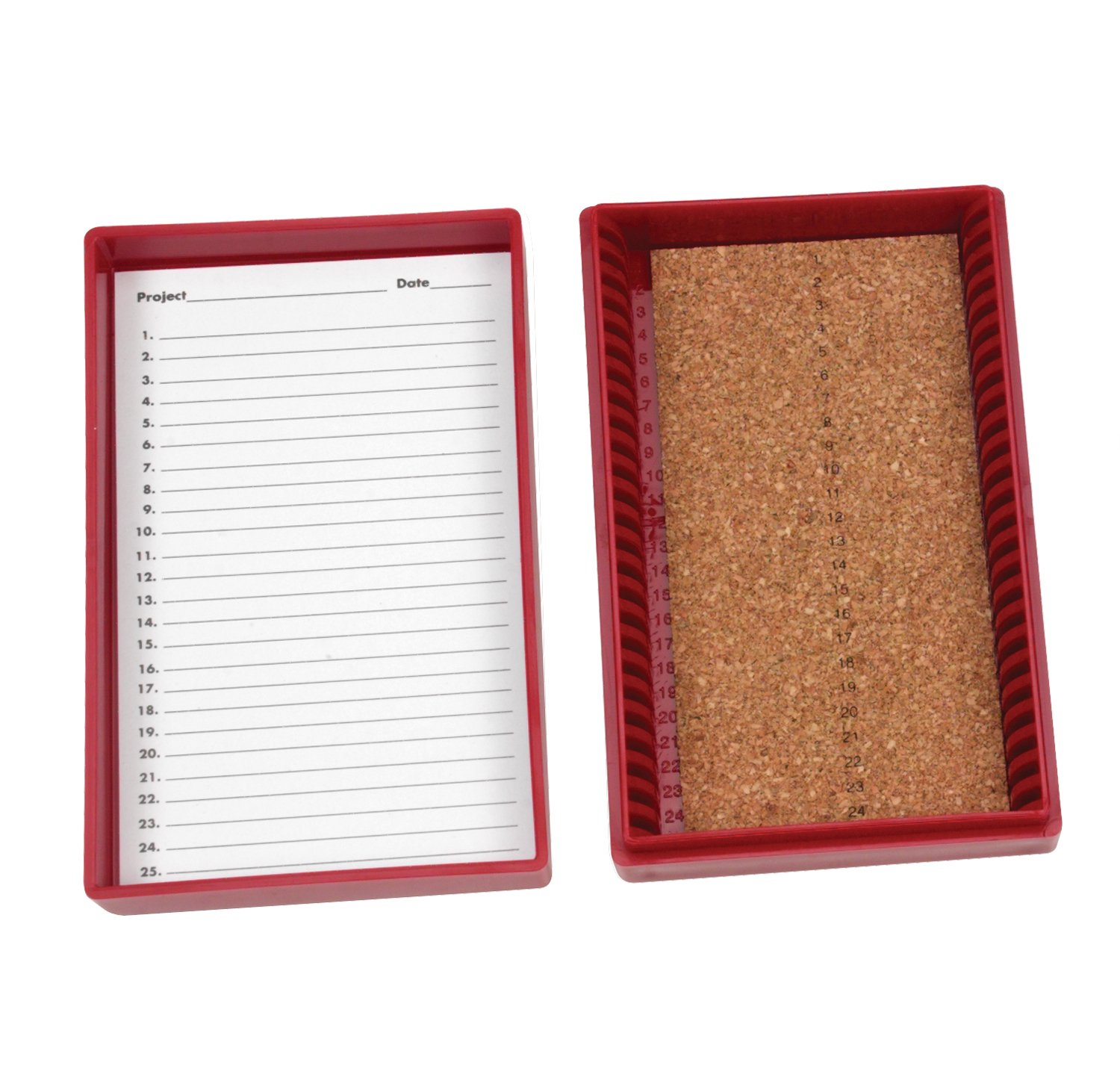 Heathrow Scientific HS15989C Premium Microscope Slide Box, 25-Place, Cork, ABS, Red