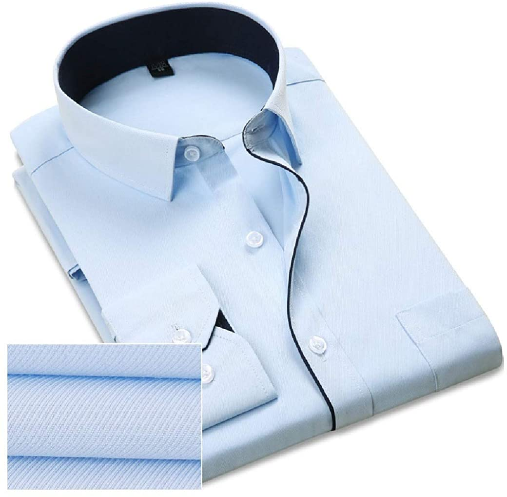 XiaoShop Men's Button Basic Business Long Sleeve Easy Care Shirts Work Shirt