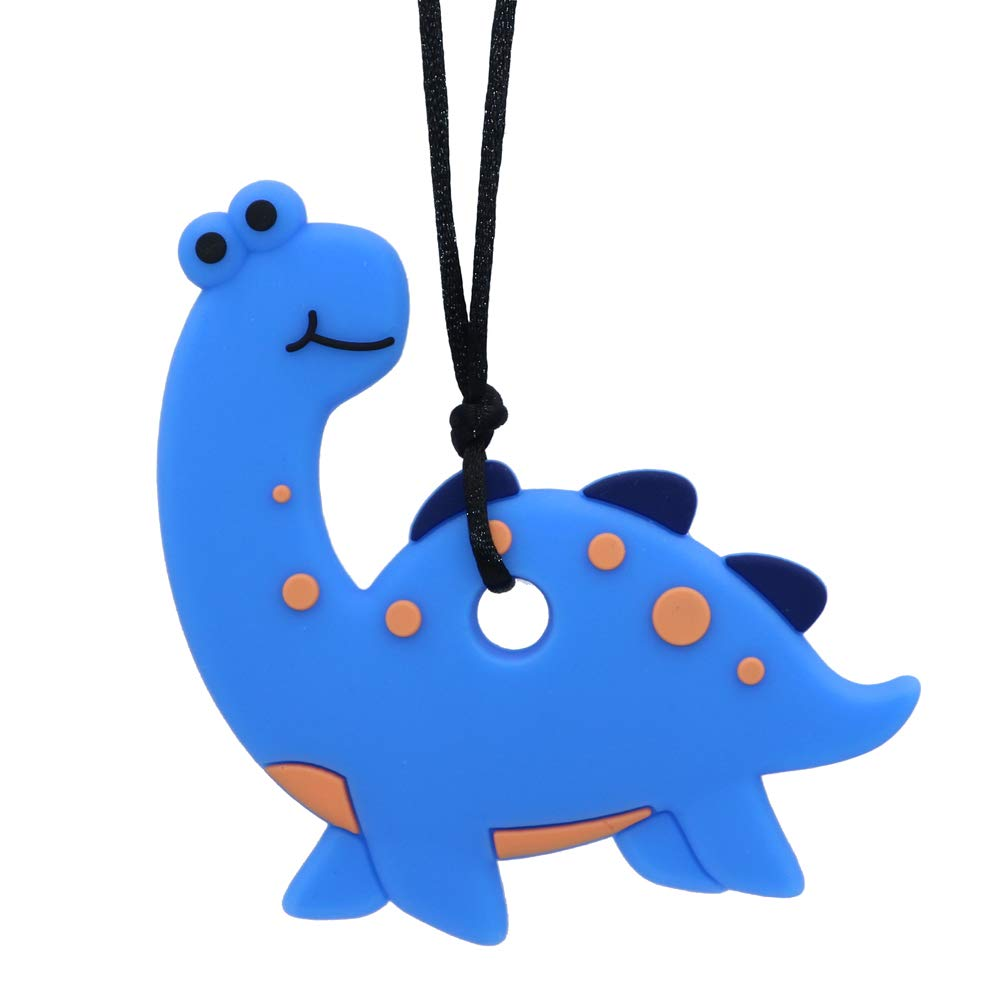 Sensory Oral Motor Aids Chew Necklace for Boys Girls, Silicone Dinosaur Chewy Jewelry for Autism, ADHD, Baby Nursing or Special Needs Kids - Reduces Chewing Biting Fidgeting for mild Chewers