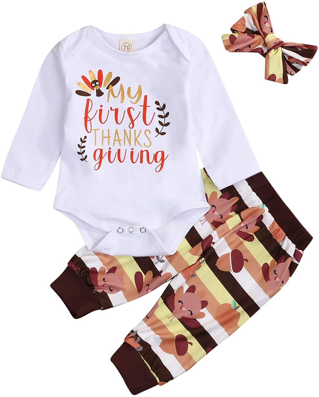 Kids Newborn Baby Girls Boys My First Thanksgiving Outfit Bodysuit Romper+Turkey Pants 3Pc Winter Clothes Set