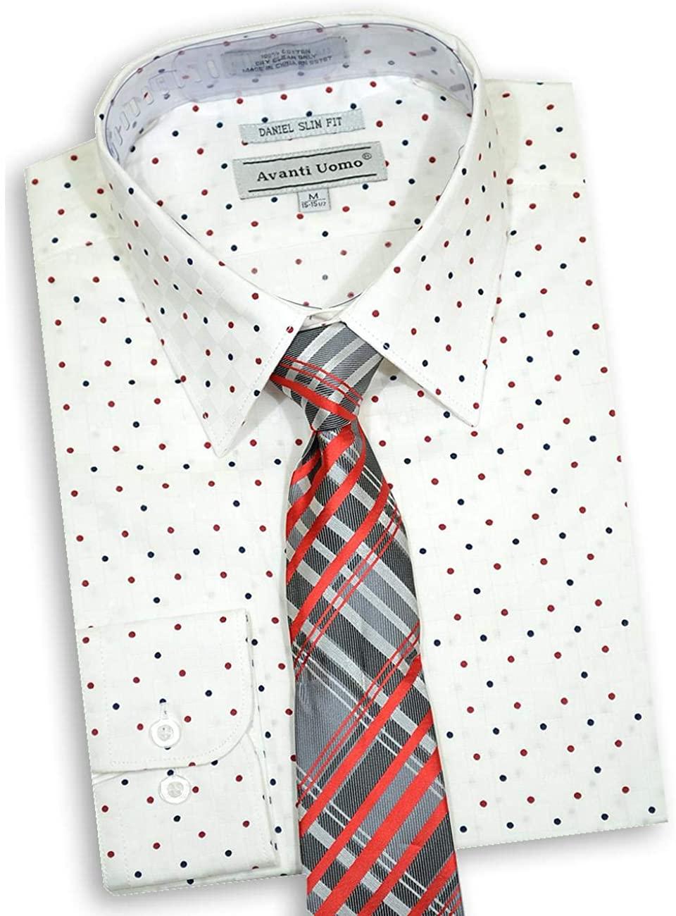 Avanti Uomo Men's White Long Sleeve Slim Fit Dress Shirt with Tie DNS10