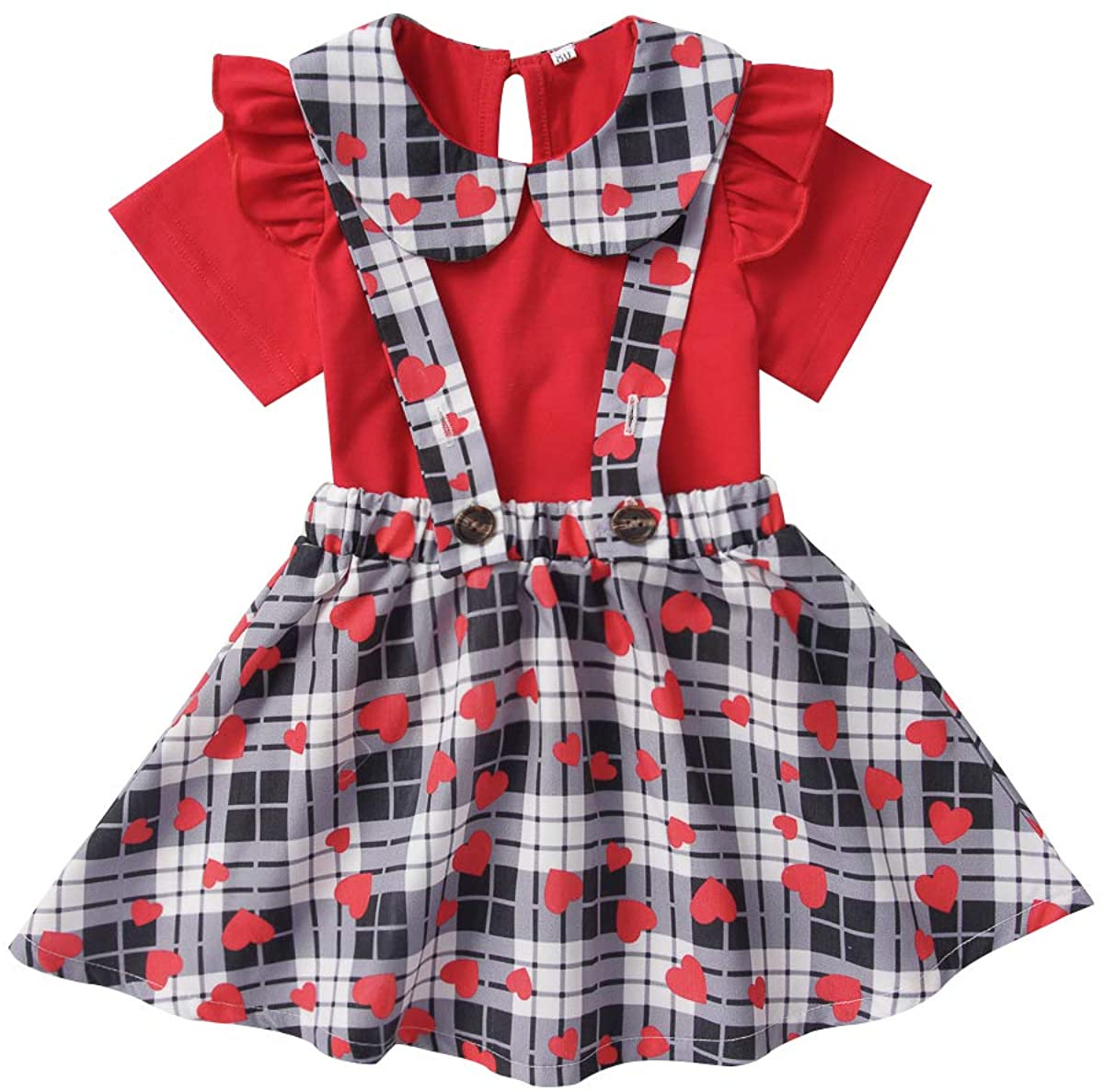 Baby Girl Valentine's Day Skirt Sets Toddler Ruffles T-Shirt + Heart Printed Plaid Suspenders Outfits