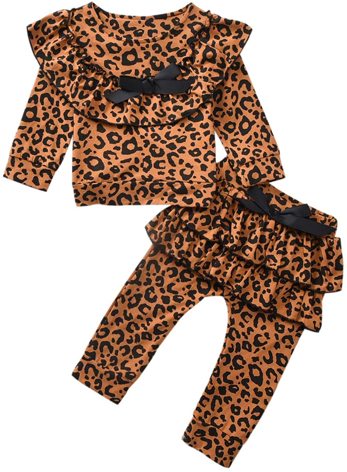 Toddler Baby Girl Outfit Leopard Ruffle Long Sleeve Clothes Fall Winter Sets