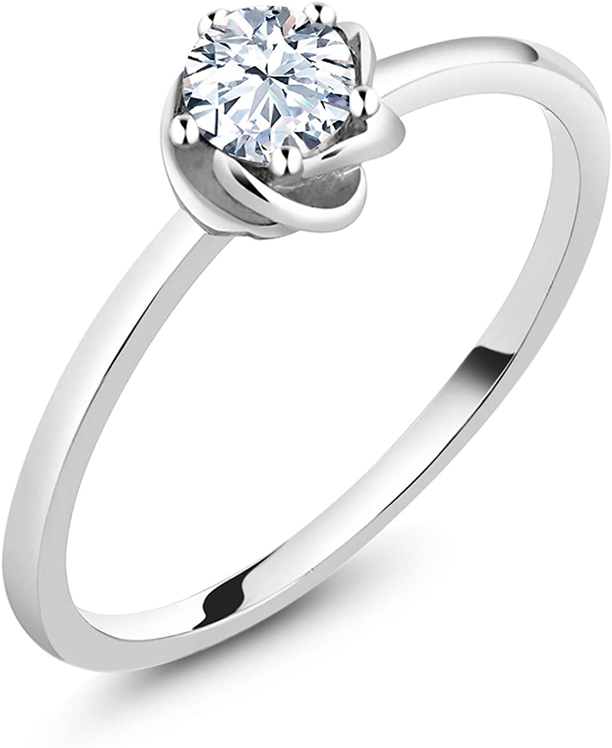 Gem Stone King 10K White Gold White Zirconia Women Engagement Ring (0.75 Ct Round, Available in size 5, 6, 7, 8, 9)