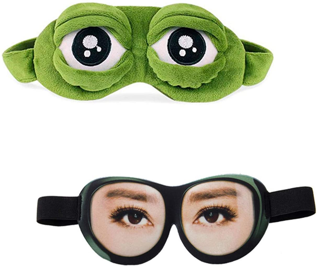 YouU 2 Pack 3D Cute Frog Sleep Eye Mask Green Cartoon Sad Frog Eye Mask Cover Sleeping Rest Travel Anime Funny Gift (Women's Style)
