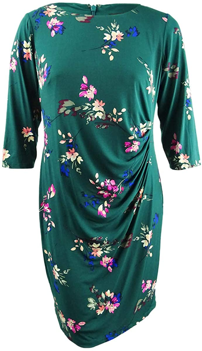 Jessica Howard Womens Plus Floral Jersey Casual Dress