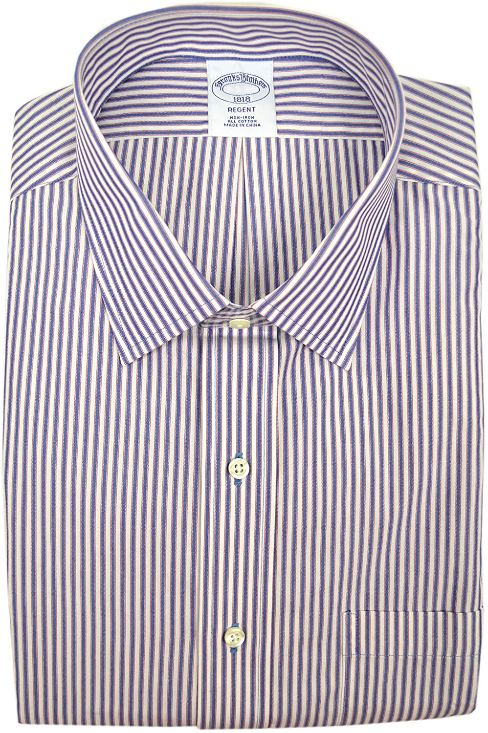 Brooks Brothers Mens Regent Fit Non Iron 100% Cotton Dress Shirt Blue White Red Striped