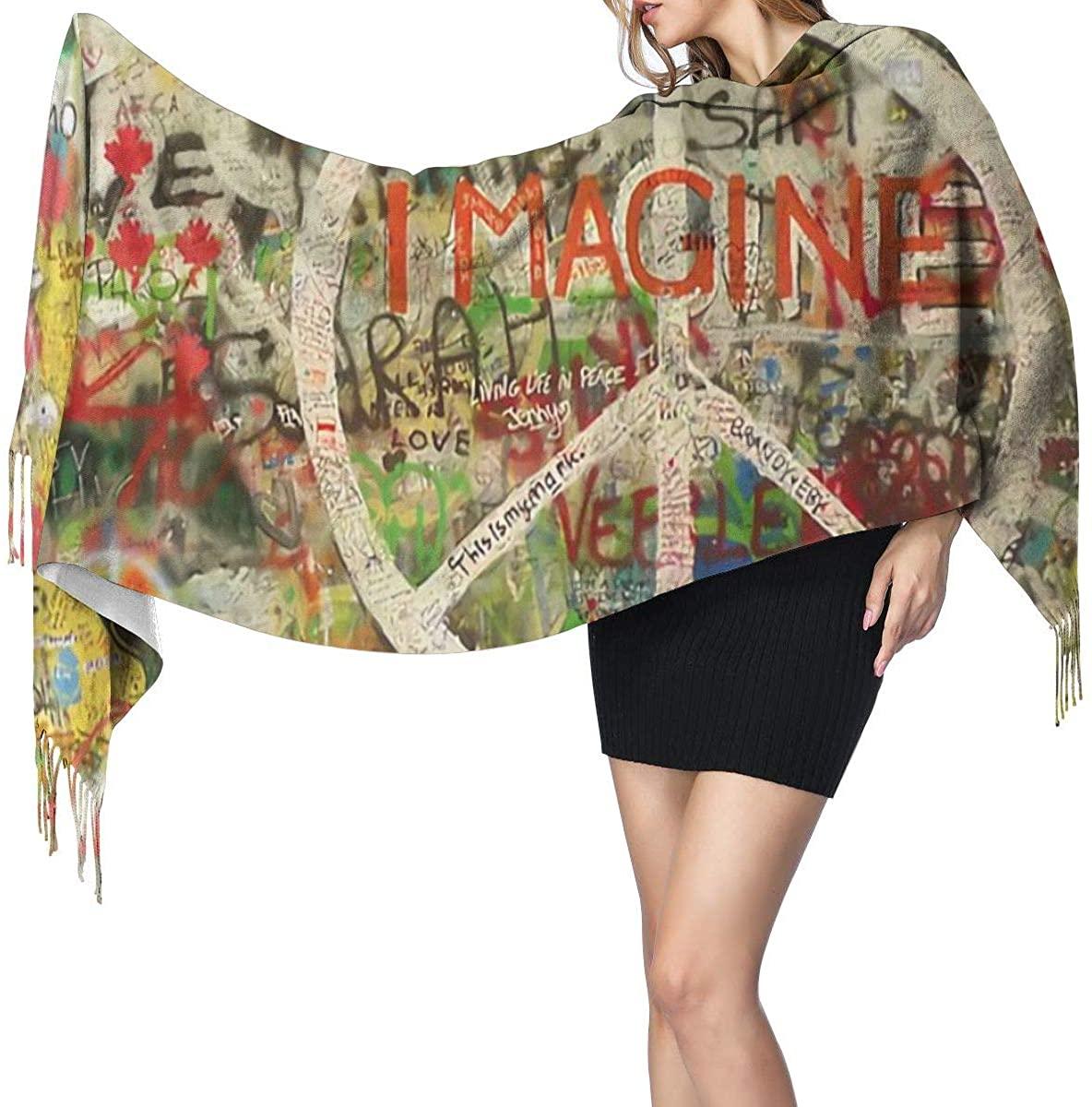 Peace Sign Graffiti Women's Winter Warm Scarf Fashion Long Large Soft Cashmere Shawl Wrap Scarves