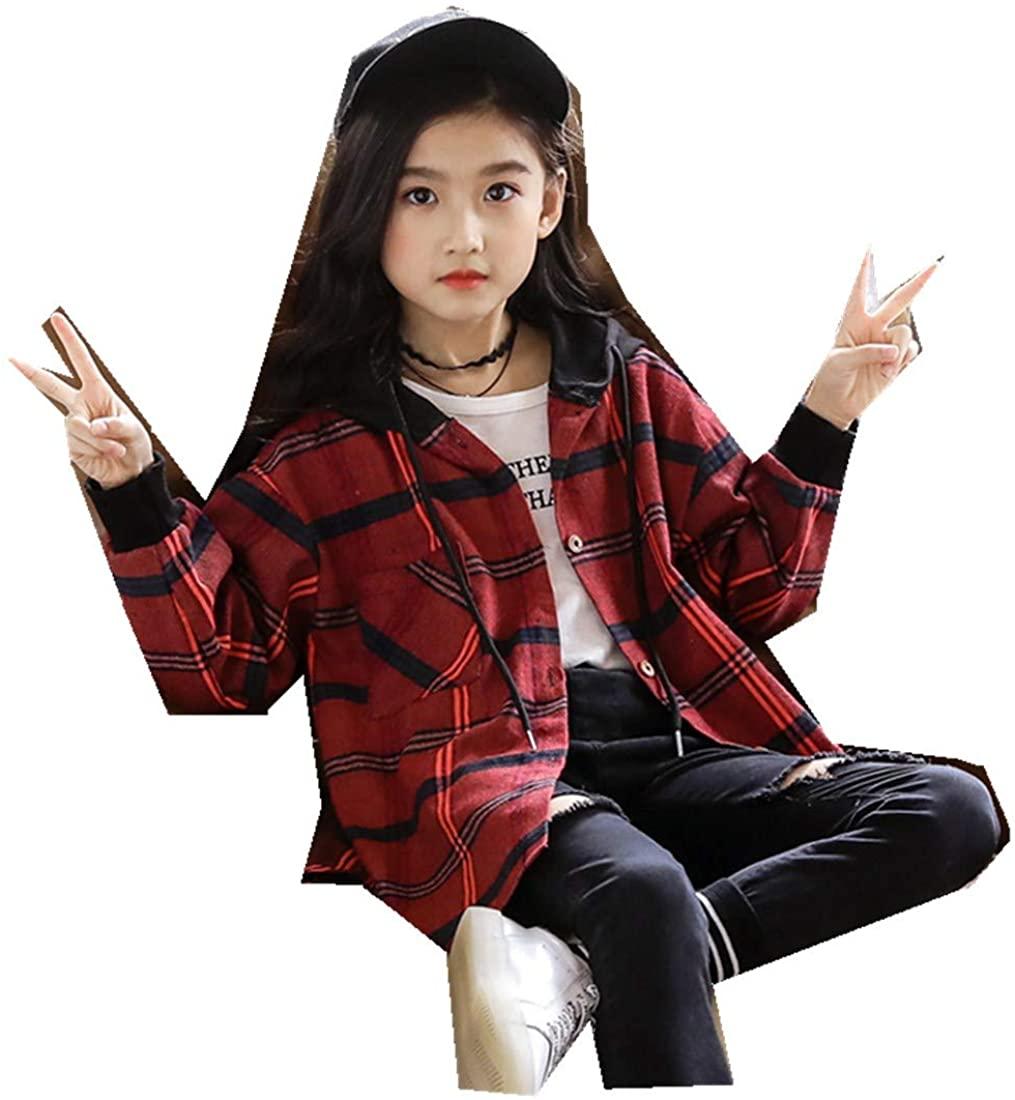Children's Clothing Girls Shirt Autumn Korean Lattice Lapel Long Cardigan Shirt