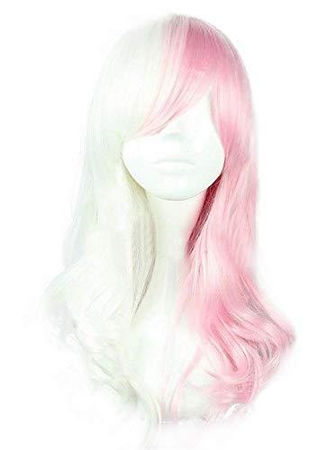 Mtxc Danganronp Cosplay Monomi/Usami Long Curly Wig White Mixed Pink
