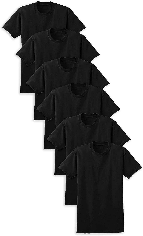 Basics Men's 6 Pack Light Weight Cotton Crew Neck T Short Sleeve Undershirts
