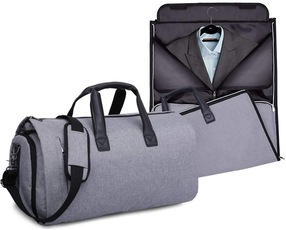 Xgxyklo Garment Bag with Shoulder Strap 2 in 1 Hanging Suit Travel Bags for Men Foldable Duffle Carry on Suit Carrier Flight Bag,Gray