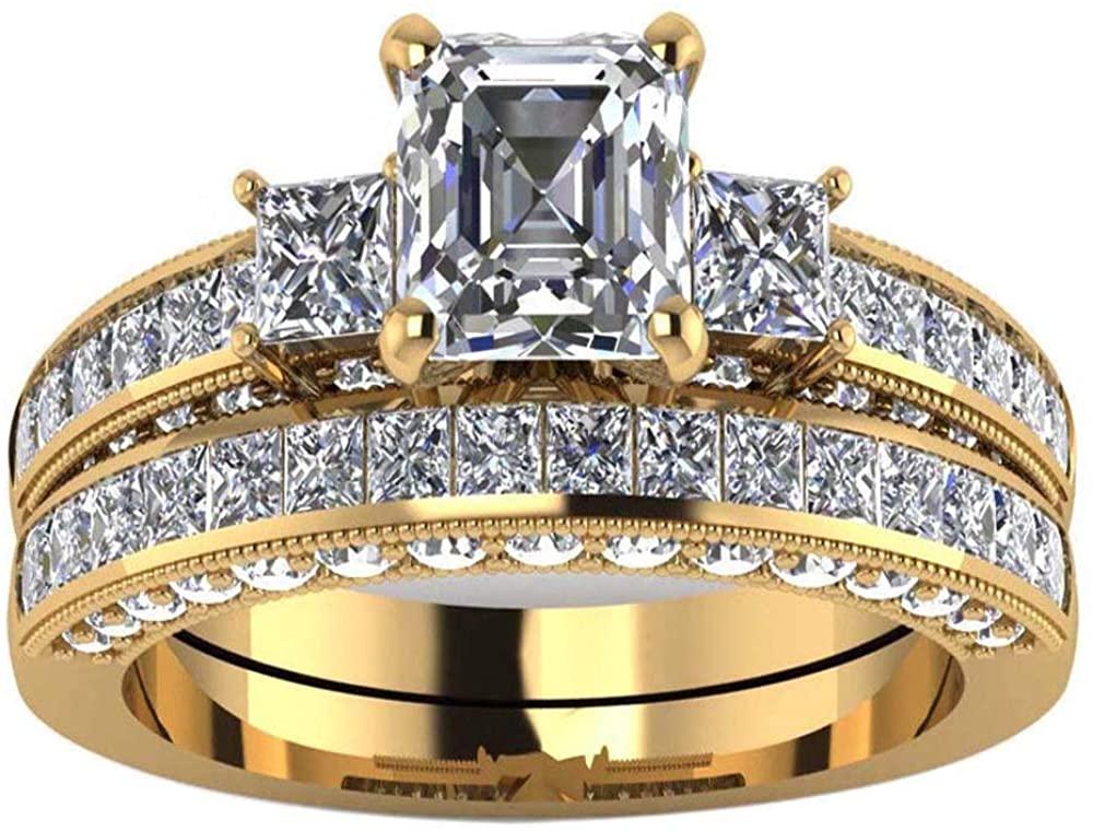 Yellow Gold Filled Three-Stone Womens Wedding Ring Sets Bridal Sets Heart Cut Cz Engagement Ring Wedding Bands