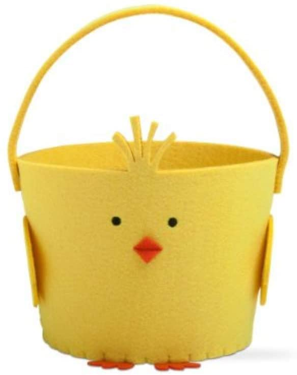 Tag Chick Felt Basket Yellow Embroidered Details Storage Bin Decorative Toy Baskets Round Polyester Kids Bucket Nursery Handbasket