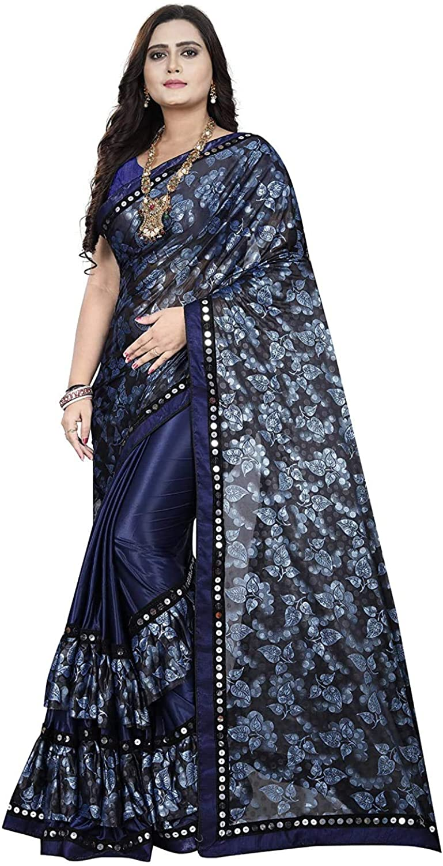 Vardan Ethnic Women's Lycra Bollywood Foil Printed Sequins Border Work Tripple Frilled Half And Half Saree (Navy Blue And Black)