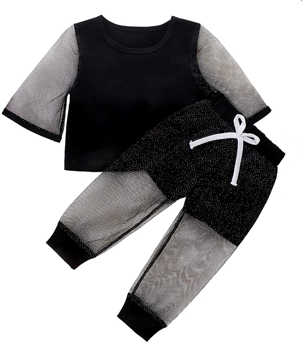 2PCS Boutique Toddler Baby Girl Clothes Flared Gauze Sleeves Crop Top Pants Outfits Summer