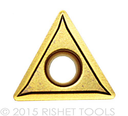 RISHET TOOLS 10994 TCMT 32.51 C2 Multi Layer TiN Coated Solid Carbide Inserts (Pack of 10)