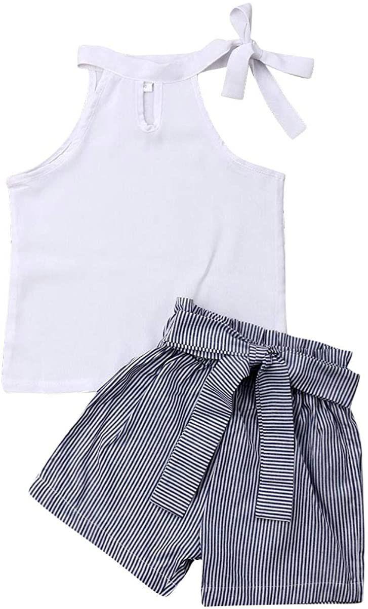 2PCS Toddler Baby Girl Sleeveless Halter Neck Tank Tops+Bow Striped Shorts Clothes Set (Sleeveless White Top+Blue Striped Shorts,2-3 Years)