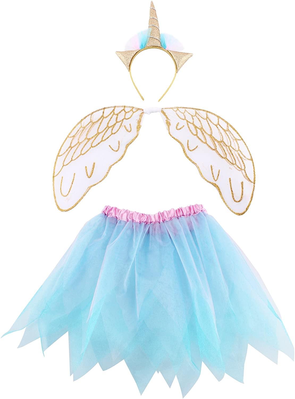 FELIZHOUSE Costume Set Unicorn Headband Wings Tutus Skirt for Girls Cosplay Party Supplies