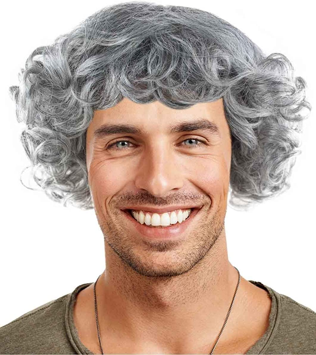 Halloween Party Online Curly Wig, Grey Adult HM-326A