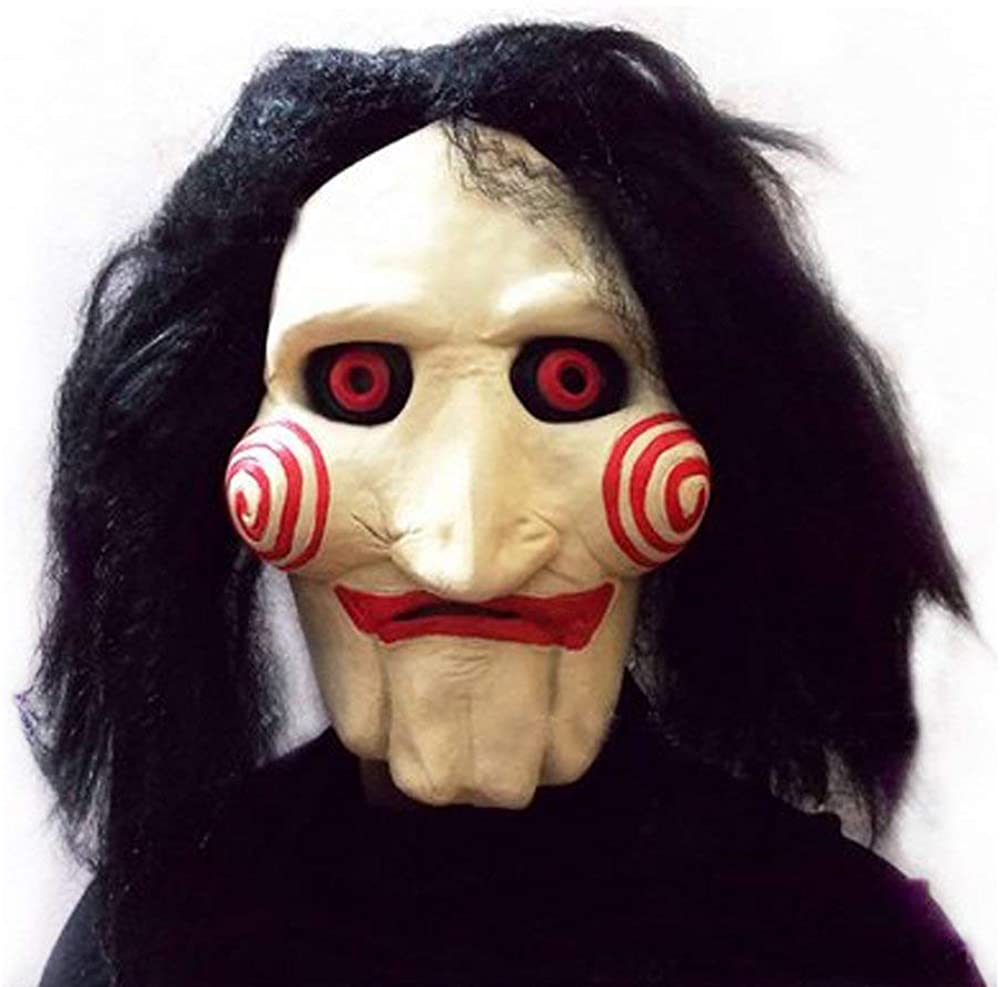KONKY Party Halloween Costume Latex Horror Clown Saw Mask Horrifying The Puppet Mask from Movie Jigsaw Full Mask Head Latex Masquerade Prop Christmas, Meets Your Scare Criteria