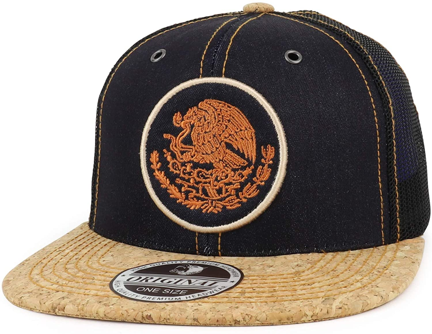Trendy Apparel Shop Mexico Coat of Arms Embroidered Corked Bill Denim Mesh Cap