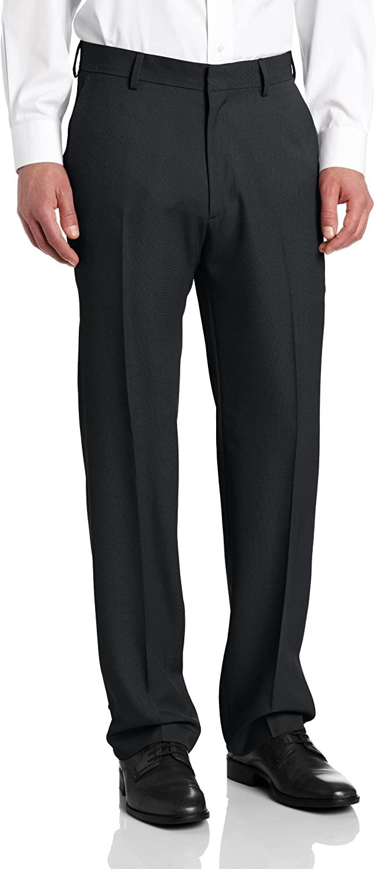 Haggar Men's Nailshead Textured Straight Fit Plain Front Dress Pant