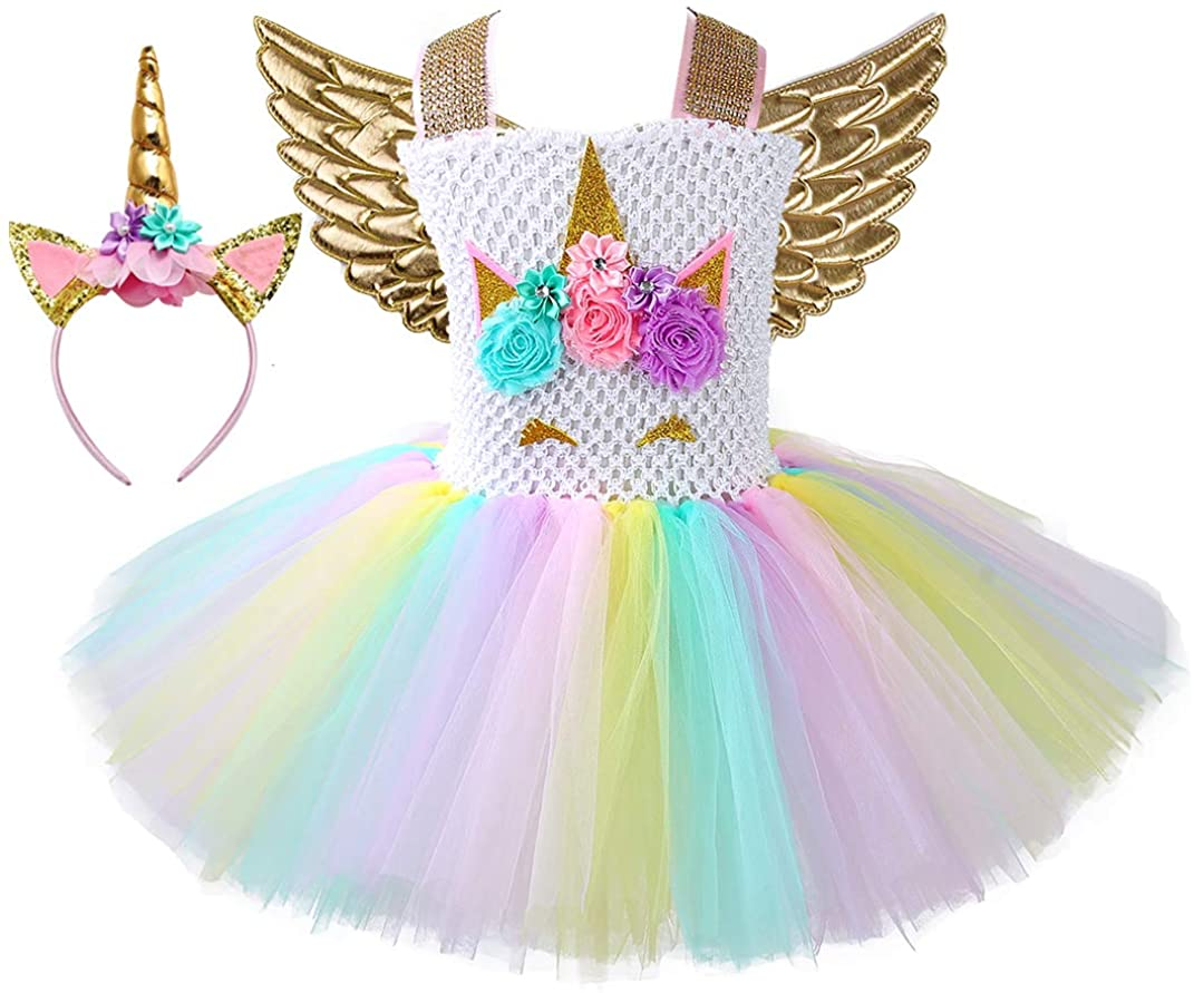 Tutu Dreams Unicorn Costume Toddler Girls Gold Wings Fairy Princess Dress Size 4 Easter Thanksgiving Day (Gold, 3-4T)