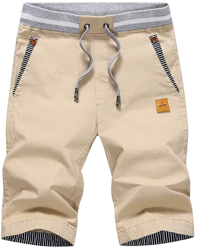 XQXCL Men's Summer Casual Shorts Solid Color Loose Drawstring Pure Cotton Beach Pants