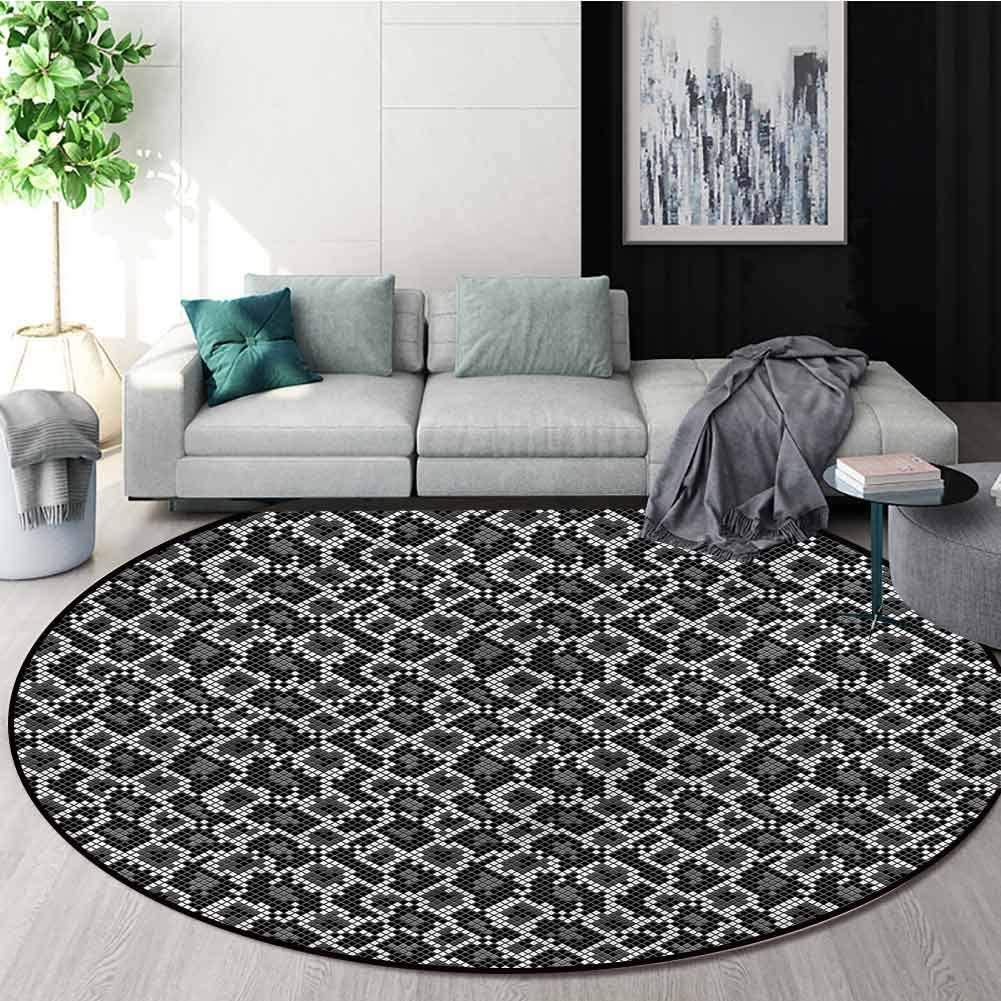 RUGSMAT Reptile Modern Flannel Microfiber Round Area Rug,Geometric Crocodile Skin Pattern Floor Seat Pad Home Decorative Indoor Round-63