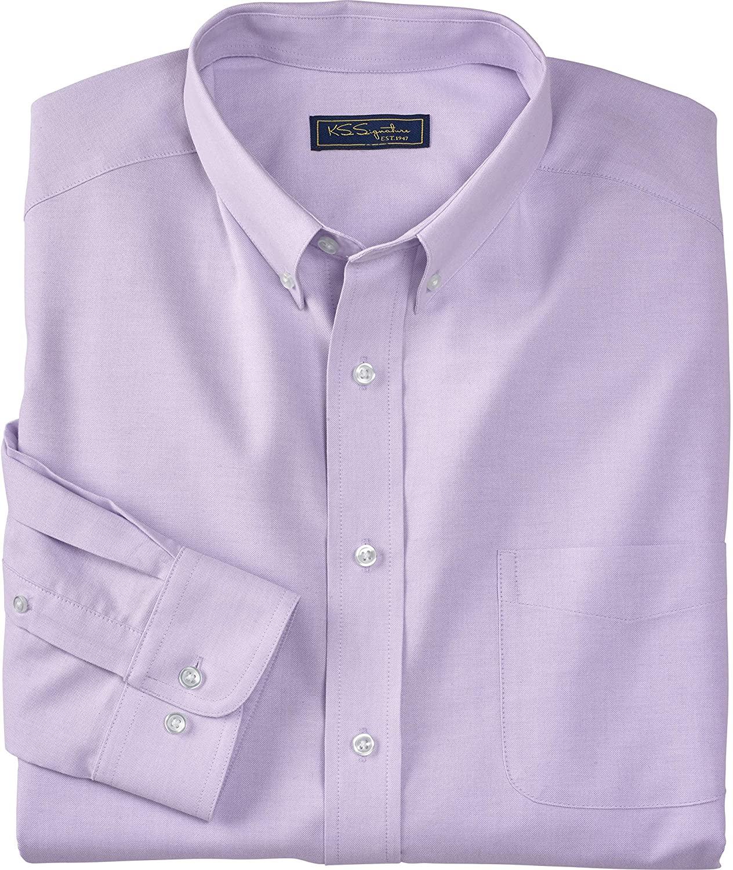KS Signature by Kingsize Men's Big & Tall Wrinkle-Resistant Oxford Dress Shirt - Big - 20 33/4, Soft Purple