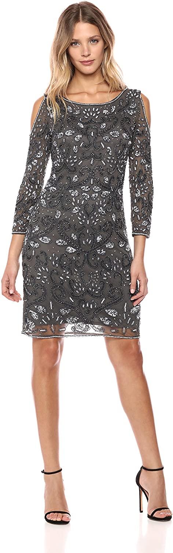 Pisarro Nights Women's Short Dress with Cold Shoulder and Beaded Motif