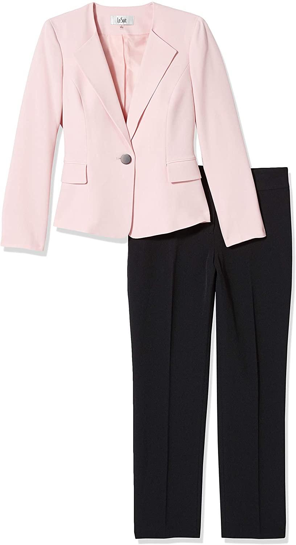 Le Suit Women's 1 Button Open Front Stretch Crepe Slim Pant Suit