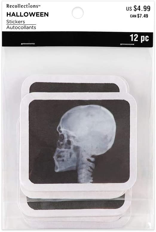 Recollections Halloween Stickers, Square X Rays, 12 Pieces