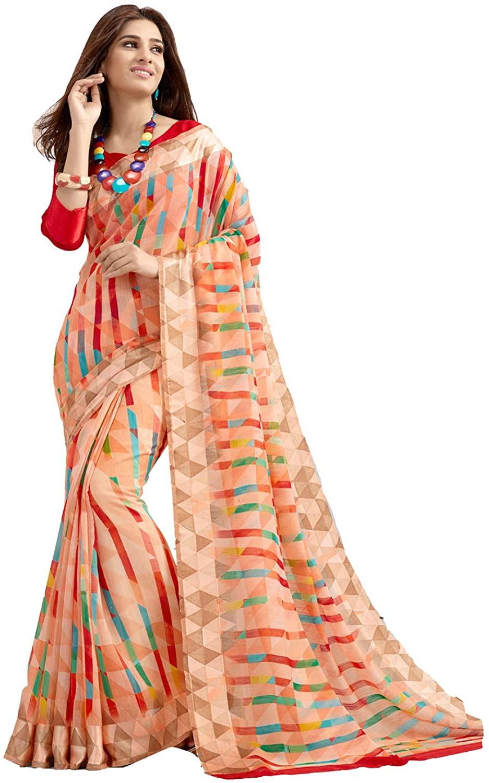 Indian Saree for Women Ethnic Sari Peach Cotton Silk Sari with Unstitched Blouse. ICW2726-9