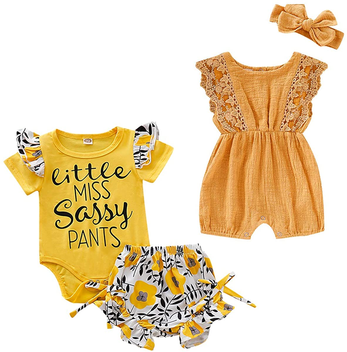 Baby Girl Kids Clothes Outfits Ruffle Romper Floral Pants Bowknot Clothing Set 12-18 Months
