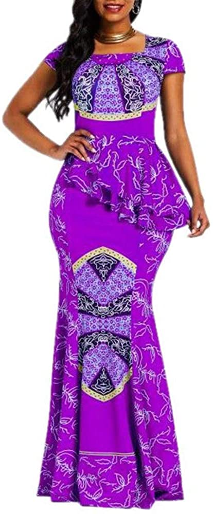 VERWIN African Dress Cap Sleeve Square Neck Floor-Length Geometric Mermaid Maxi Dress Long Dress