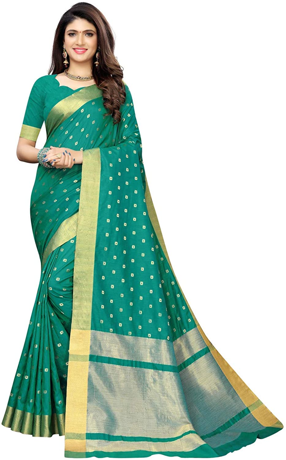Indian Decor & Attire Women's Chanderi Kanjivaram Saree with Blouse Turquoise