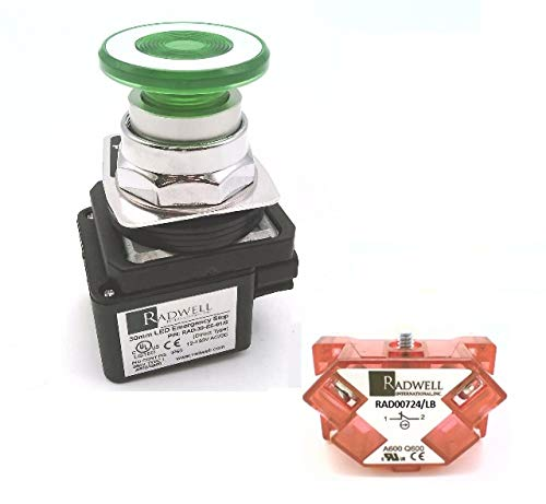 RADWELL VERIFIED SUBSTITUTE 800T-FXQ10D4-SUB-GREEN PUSH-PULL, NC/LB, SUBSTITUTE FOR ALLEN BRADLEY 800T-FXQ10D4, PUSH BUTTON, FULL PRODUCT REPLACEMENT, GREEN, 12-130V AC/DC, ILLUMINATED, 2-POSITION, LE