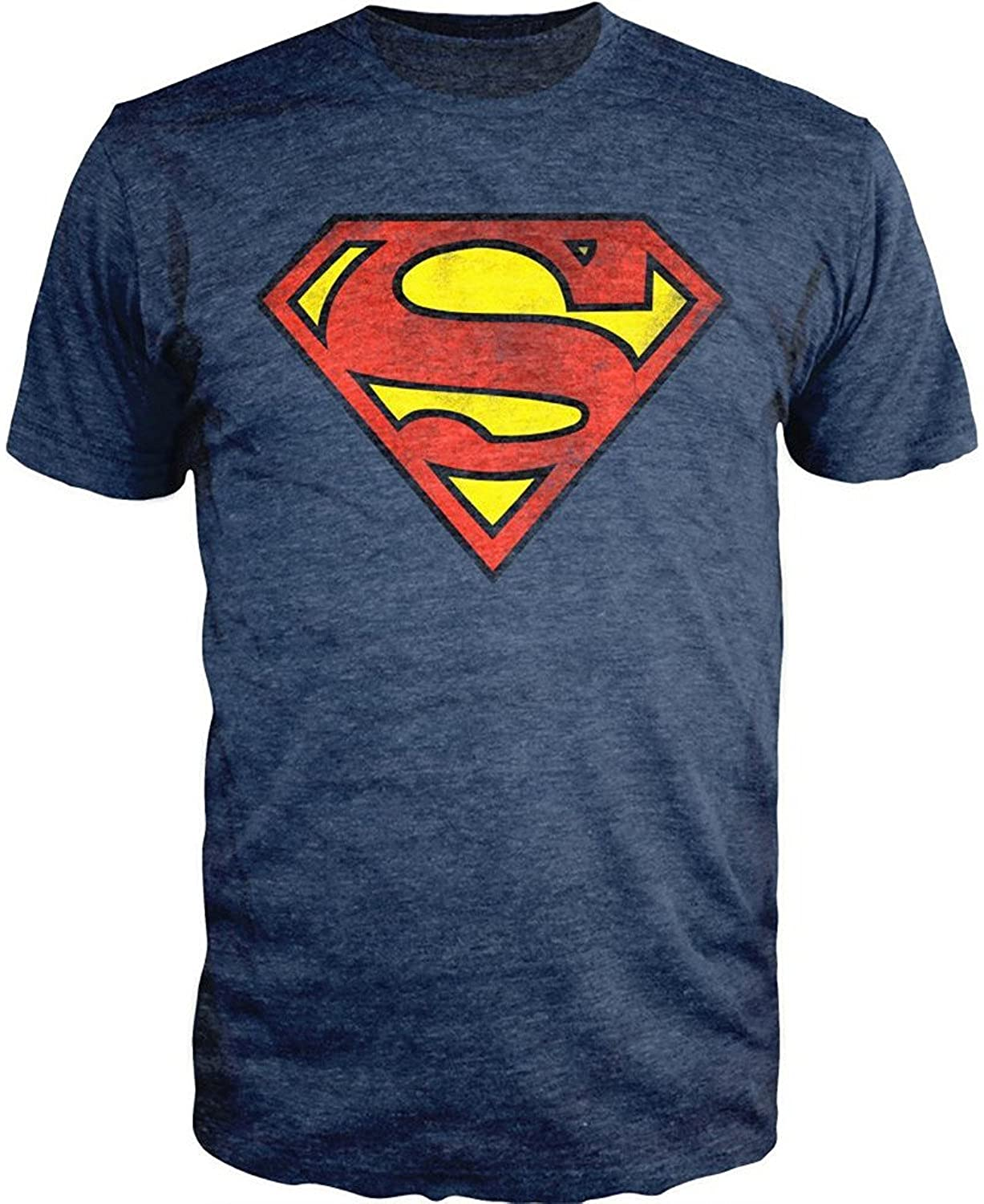 DC Comics Superman Logo Navy Heather T-Shirt Officially Licensed