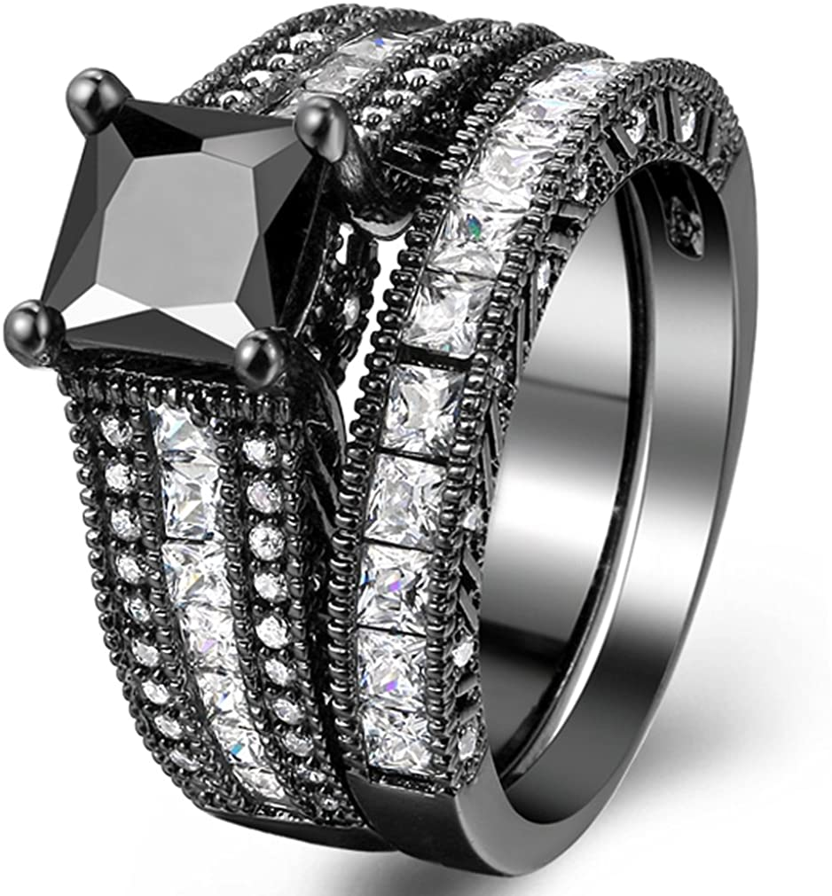 FENDINA Women 18K Black Gold Plated Princess Cut Created Black Stones Solitaire Ring Wedding Engagement Band Rings Set, Size 10